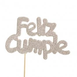 Decoración para tarta Feliz Cumple plata