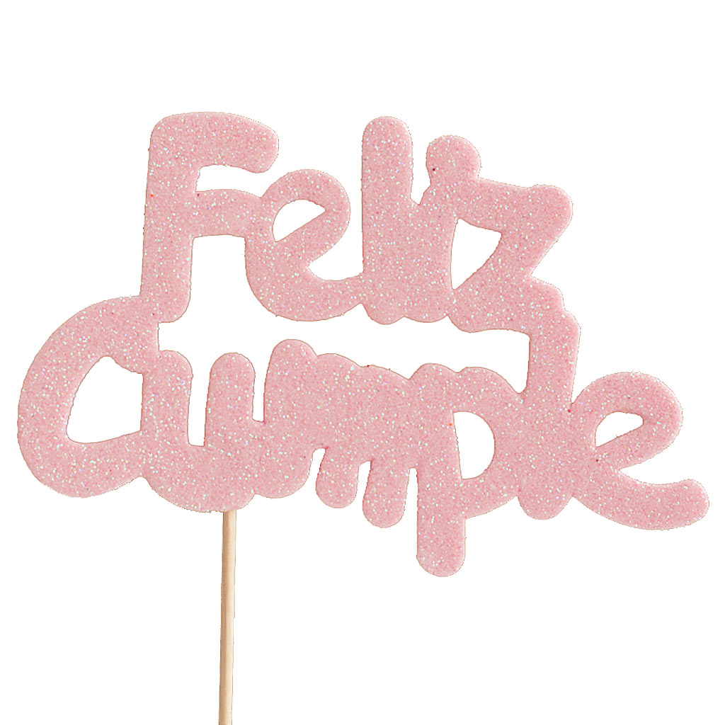 Decoraci n para tarta feliz cumple rosa beb my karamelli - Feliz cumpleanos bebe 1 ano ...