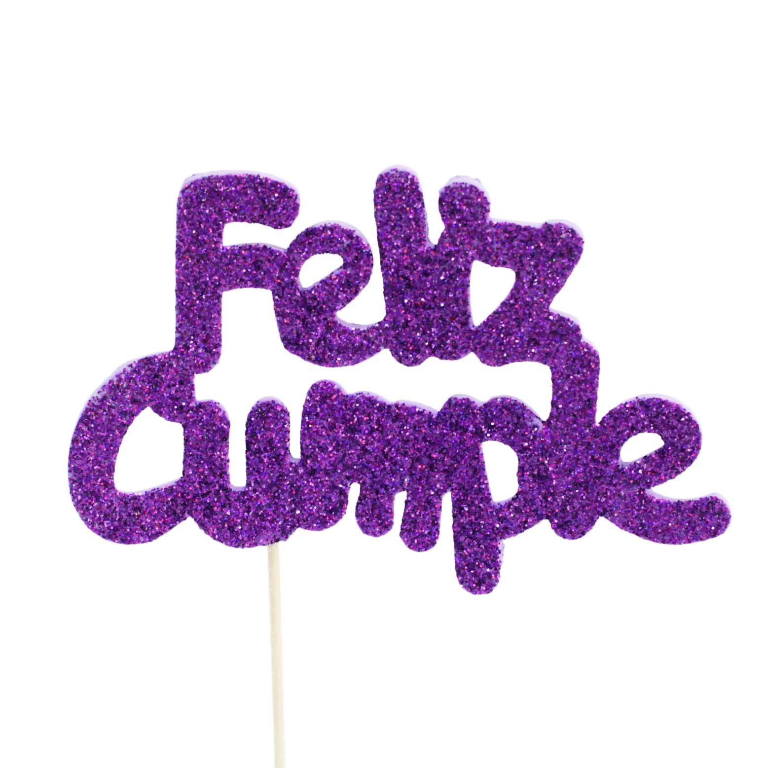 Decoración para tarta Feliz Cumple Violeta