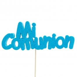 Decoración para tarta Mi comunión azul