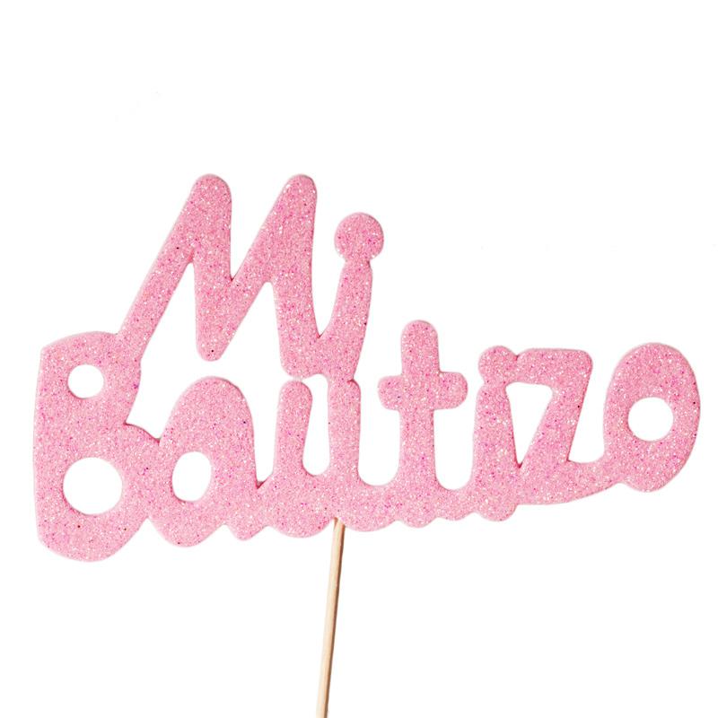Decoración para Tartas Mi Bautizo Rosa - My Karamelli