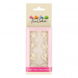 Decoraciones de Azúcar Estrellas Blanco Perlado