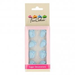 Decoraciones de Azúcar Pies Bebé Azules 16 unidades