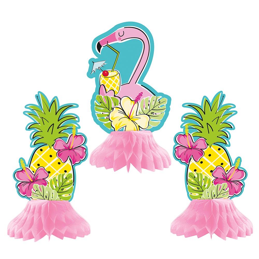 Decoración Centro de Mesa Flamingo y Piñas