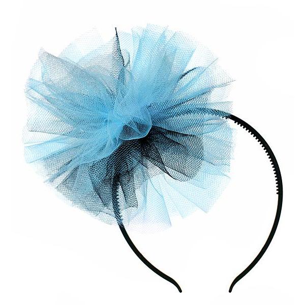 Diadema Decoración de Tul Negro y Azul