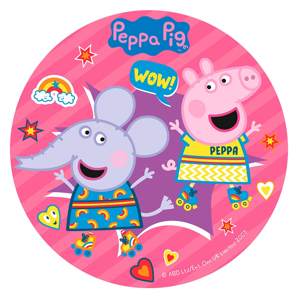 Disco de Azúcar Peppa y Emily Arcoíris