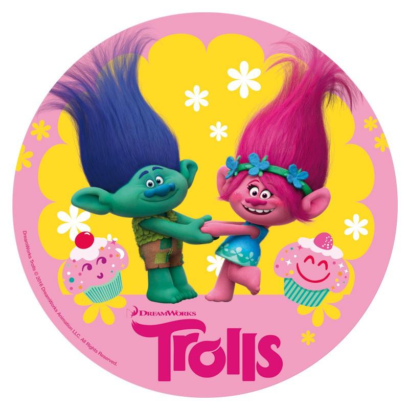 Disco de Oblea Trolls Branch y Poppy 20cm