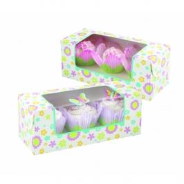 Set de 3 cajas florales para cupcakes wilton