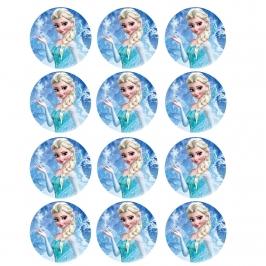 Juego de 12 impresiones en oblea Elsa