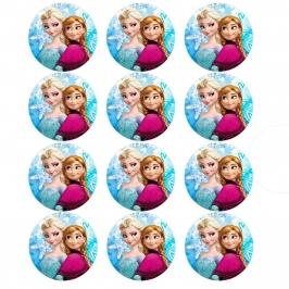 Juego de 12 impresiones en oblea Elsa y Anna