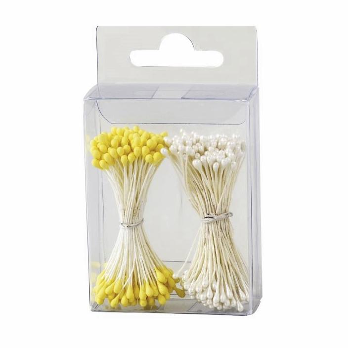 Estambres para flores blancos y amarillos