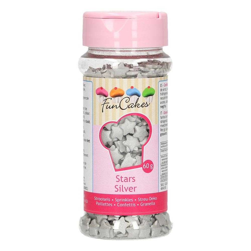 Estrellitas de azúcar plateadas
