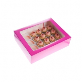 Caja 24 Mini cupcakes Hot Pink