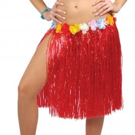 Falda hawaiana roja con cinturón con flores de colores
