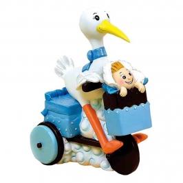 Figura Bautizo Cigüeña Azul en Moto