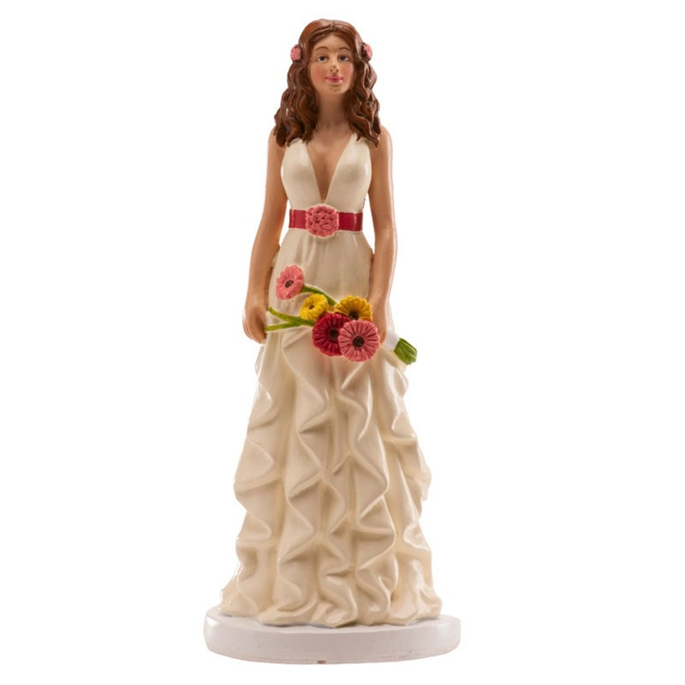 Figura de Boda Mujer con Margaritas 16 cm