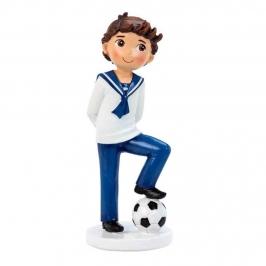 Figura Niño Comunión Marinero con Balón 17 cm