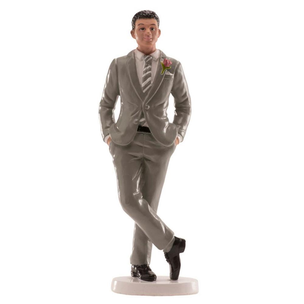 Figura para tarta de boda de hombre moreno con traje gris de 16 cm de alto