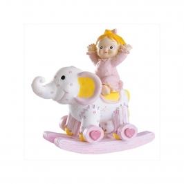 Figura para tarta niña bautizo en elefante