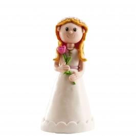 Figura para tarta niña comunión con flores 13 cm