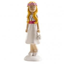 Figura para tarta niña comunión moderna 13cm