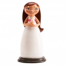Figura para tarta niña de comunión con vela 13 cm