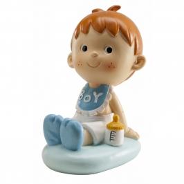 Figura para tarta niño bautizo con babero 9cm