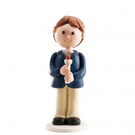Figura para tarta niño de comunión con vela 13 cm
