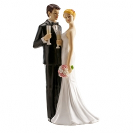 Figura para tarta novios con champagne 16cm
