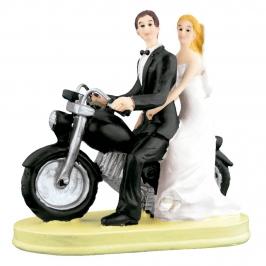 Figura para Tartas Novios Motoristas 14 cm