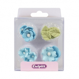Flores y Hojas de azúcar Azules