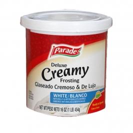 Frosting cremoso deluxe blanco para dulces de 454 gramos