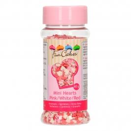 Mini Corazones Rosas, Blancos y Rojos de Azúcar 60 gr -  FunCakes