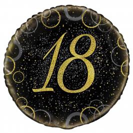 Globo 18 Cumpleaños Negro y Oro 45cm