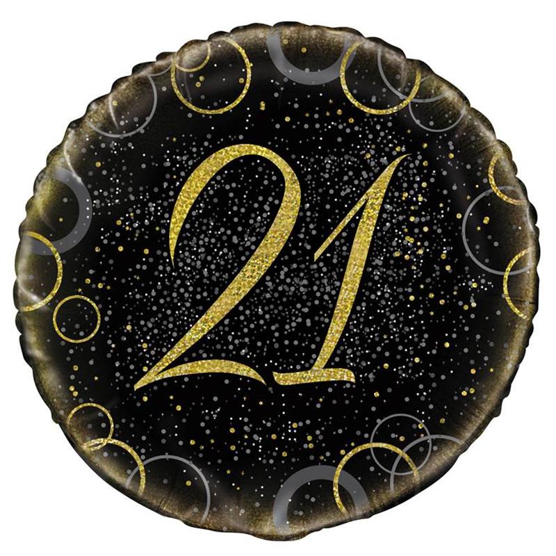 Globo 21 Cumpleaños Negro y Oro 45cm