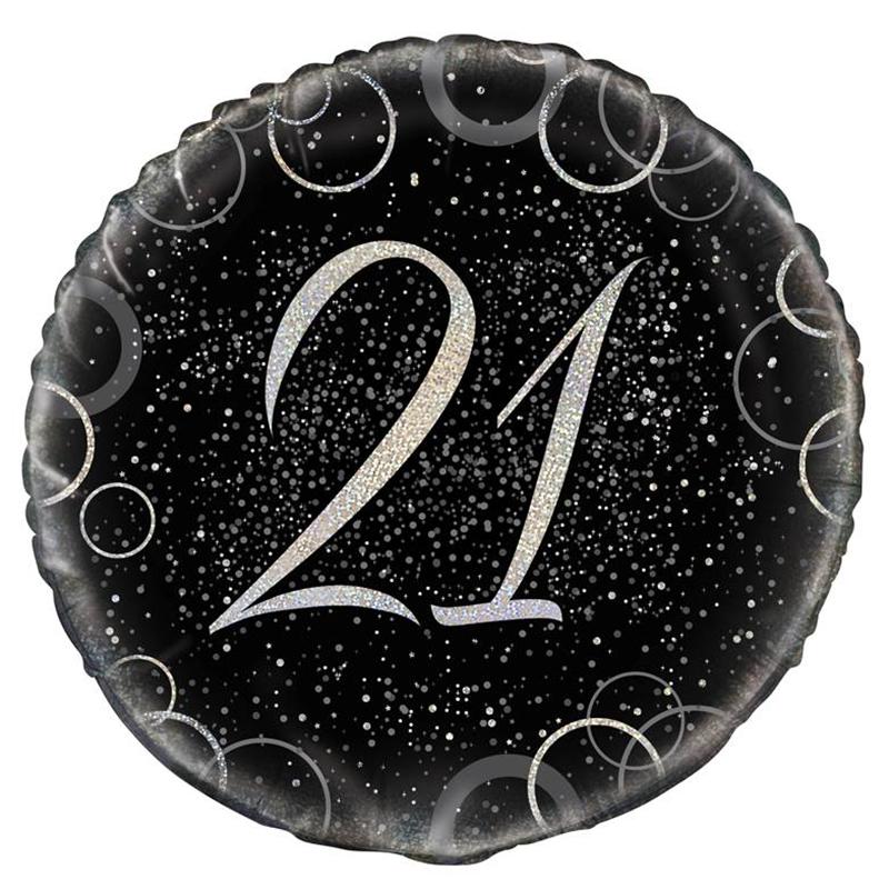 Globo 21 Cumpleaños Negro y Plata 45cm
