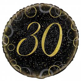 Globo 30 Cumpleaños Negro y Oro 45cm