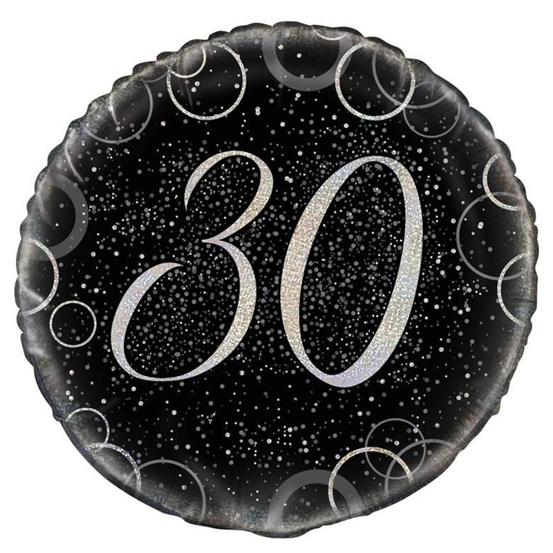 Globo 30 Cumpleaños Negro y Plata 45cm