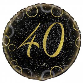 Globo 40 Cumpleaños Negro y Oro 45cm