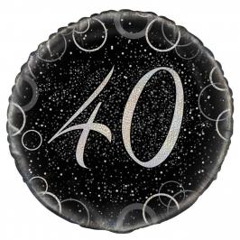 Globo 40 Cumpleaños Negro y Plata 45cm