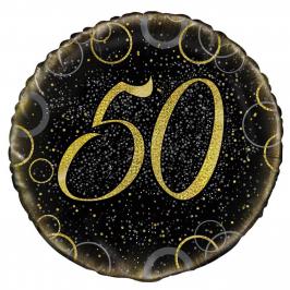 Globo 50 Cumpleaños Negro y Oro 45cm