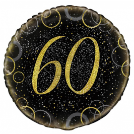 Globo 60 Cumpleaños Negro y Oro 45cm