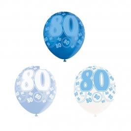 Set de 6 Globos 80 Cumpleaños Azul 30 cm