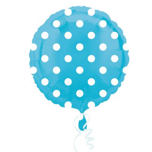 Globo Azul con Lunares blancos 45cm