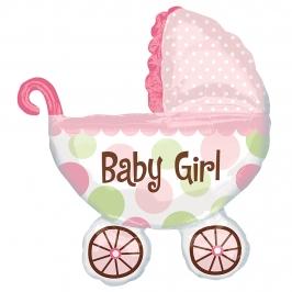 Globo cochecito bebe niña