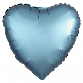 Globo Corazón Azul Acero Satinado 45 cm