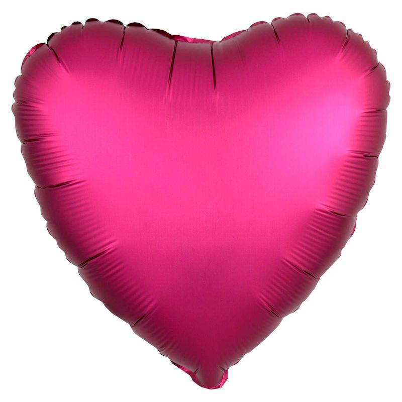 Globo Corazón Fucsia Satinado 45 cm
