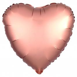 Globo Corazón Oro Rosado Satinado 45 cm