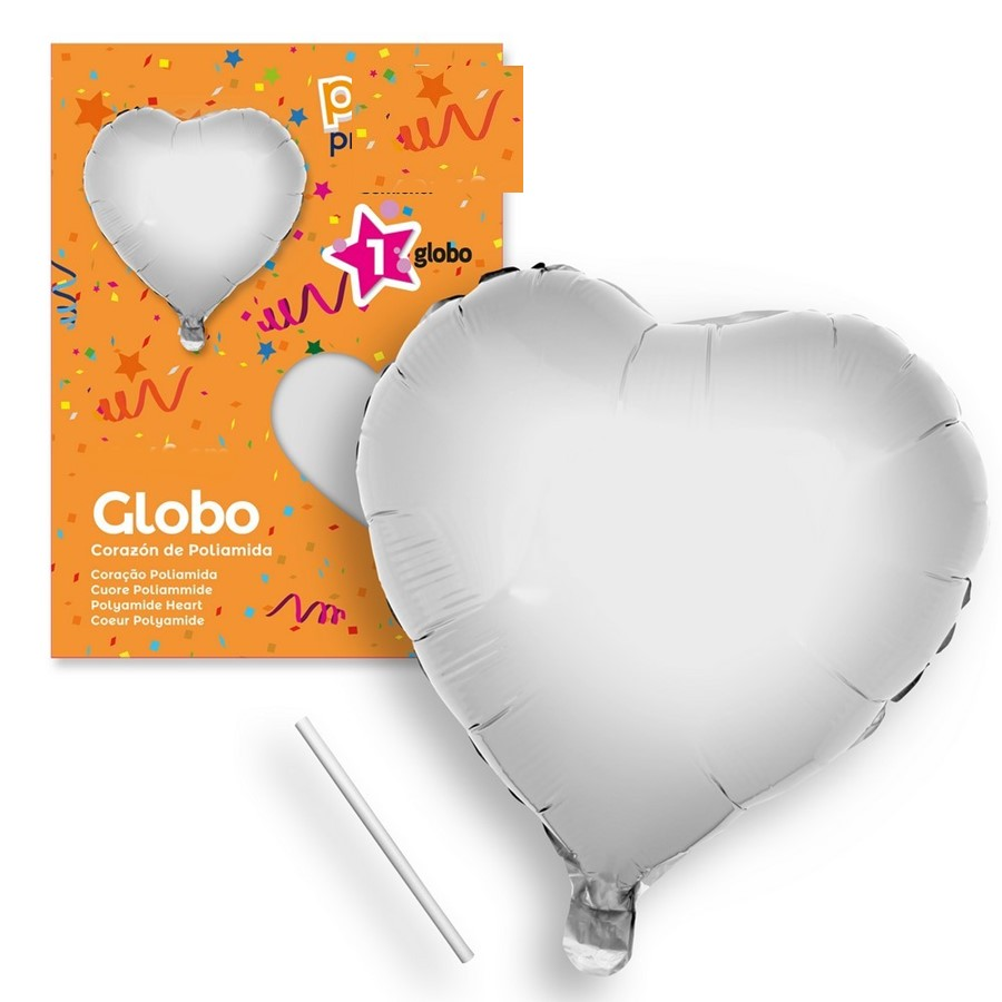 Globo Corazón Plata 44 cm