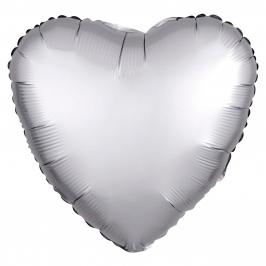 Globo Corazón Plata Satinado 45 cm